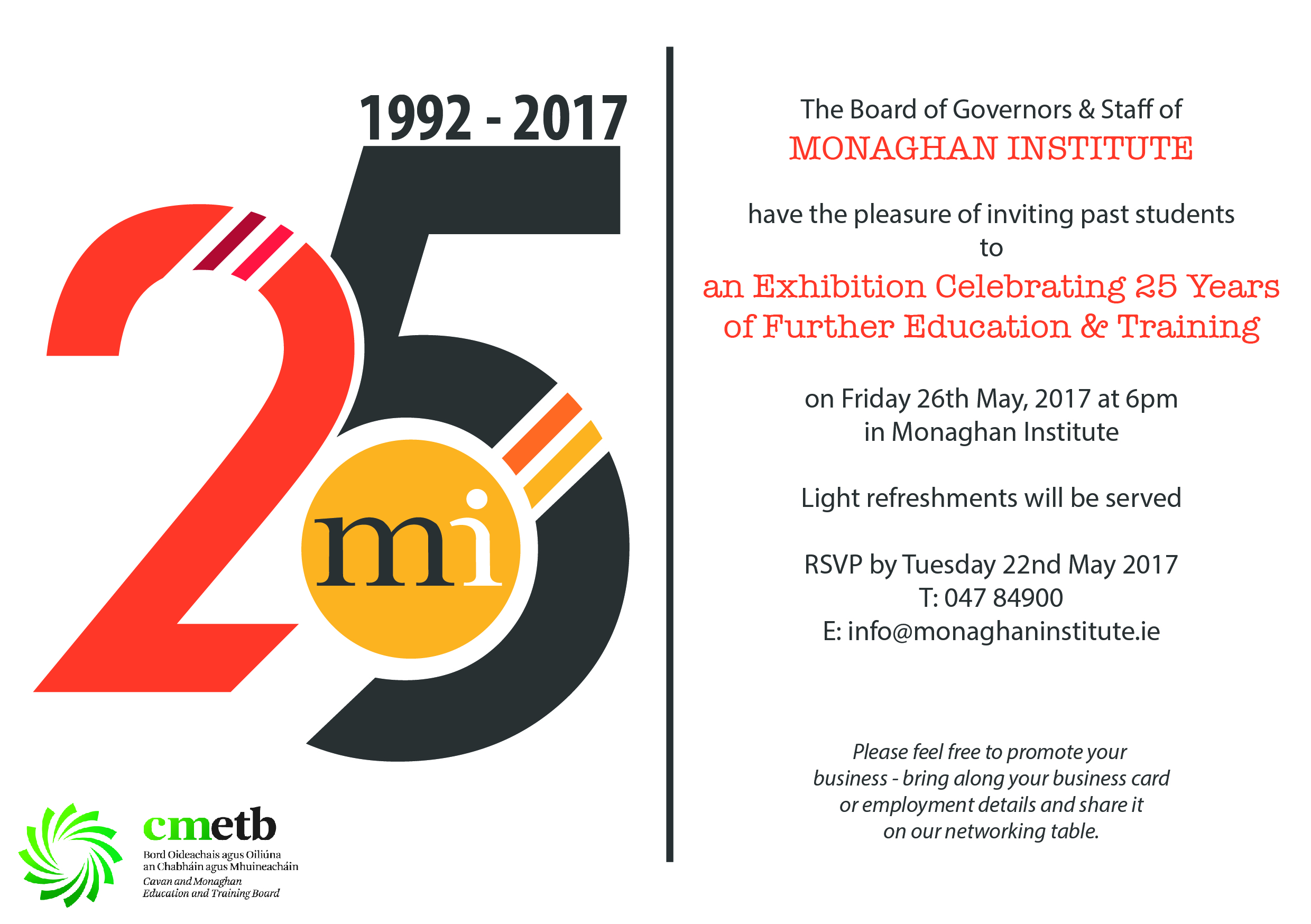 25 Years of Monaghan Institute Invitation